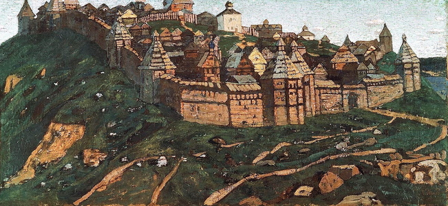 <h4>Городок</h4><p>1902. Масло Серия <strong>Начало Руси. Славяне и варяги</strong></p>